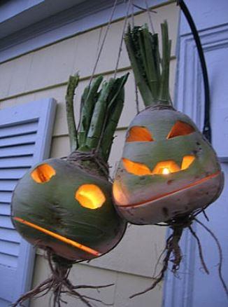 Светильник из репы на Хэллоуин
