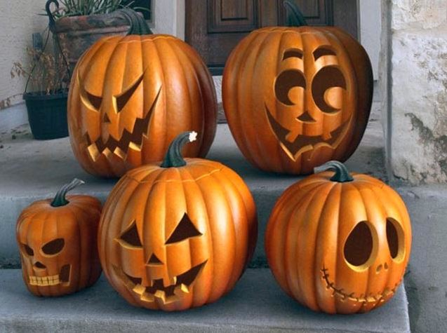 Разнообразие светильников Джека на хэллоуин