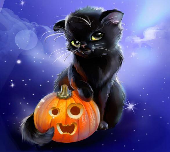Котёнок с тыквой - символы Хэллоуина