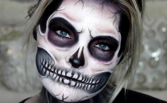 Макияж скелета для девушек