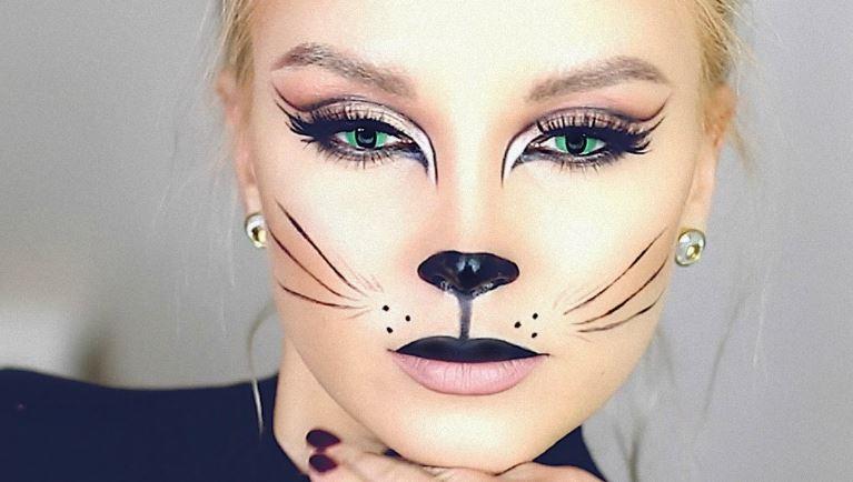 Макияж женщины-кошки на Хэллоуин
