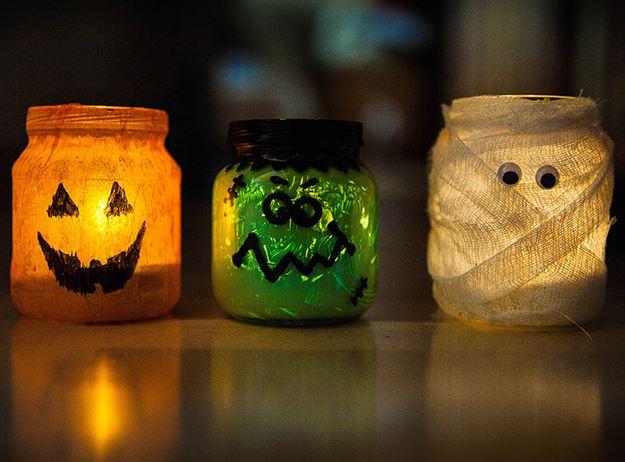 Поделки из стеклянных банок на Хэллоуин